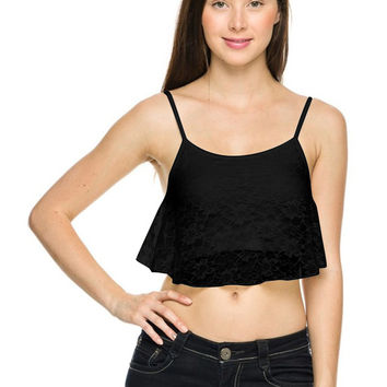Crochet Lace Spaghetti Strap Crop Top