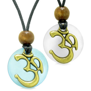 Ancient OM Tibetan Amulets Love Couples Yin Yang Powers Sky Blue and White Simulated Cats Eye Necklaces