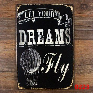 Retro Wall Hanging - let your dreams fly kids metal sign wall art decor for children room vintage decoration