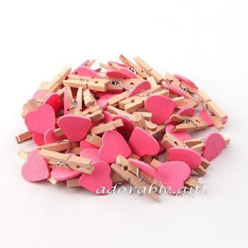 Wooden Pegs / Wood Stationery / Party Wedding / bag closure Scrapbooking Craft /Mini Pink Heart 3cm 50pcs