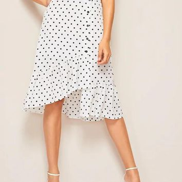 Button Through Polka Dot Asymmetrical Ruffle Hem Skirt
