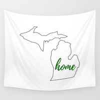 State of Michigan, Home State Tapestry, White and Green, State Outline, Home State Pride, Home Typography, Custom Colors, Indoor Tapestry