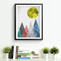 Mountain Print, Blue  Red Triangle Wall Art Print, old paper texture, Geometric Luna Mountains, Blue Print, Green Blue Mountain Print *186*