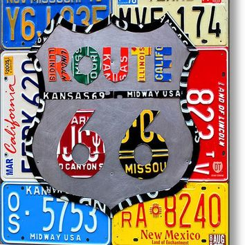 Route 66 Highway Road Sign License Plate Art Metal Print