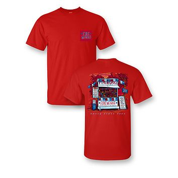 Sassy Frass Fireworks Stand 4th of July USA Patriotic American Flag Bright T Shirt
