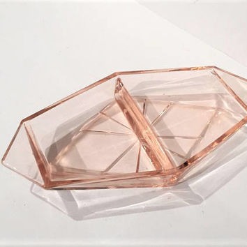 Pink Depression Glass Relish Dish, Geometric Pink Glass Pickle Tray, Vintage Art Deco Tray, Sakier Pink Glass Vanity Tray