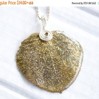 Christmas Sale Aspen Leaf Pendant, Gold Glitter Jewelry, Bridesmaid Jewelry, Nature Jewelry