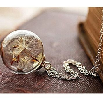 New Dandelion's Promise Floating Bottle Pendant Chain Necklace