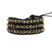 Bronze Freshwater Pearls on Black Leather Wrap Bracelet