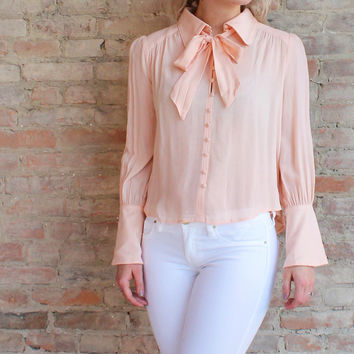 Posey Tie Neck Blouse - Peach