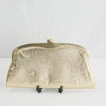Vintage 1960s Gold Glam Clutch Bag Purse Pretty Pearl Snap Closure