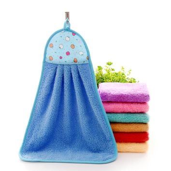 1Pcs Hand Towel Plush Hanging Kitchen Bathroom Thick Soft Cloth Wipe Towel Cotton Non-oil-Stick Dish Washing