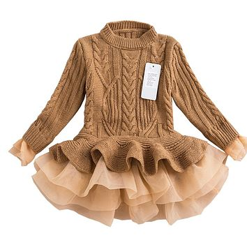 Fashion Autumn 2017 Thick Warm Girl Dresses Princess Knitted Winter Party Kids Sweater TuTu Dress Girl Clothes Children Clothing