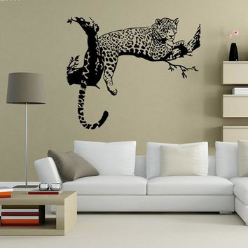 1pc 48*80cm Leopard Panther Wall Sticker Large Wild Animal Cheetah Wall Decal Art Mural Kids Living Rooms Home Decor s2