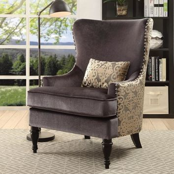 Floreda Traditional Dark Grey Flannelette and Damask Wingback Accent Chair