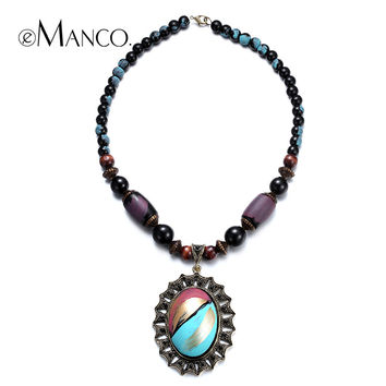 //Geometric pendant multicolor resin necklace// retro style wooden bead necklace trendy summer jewelry 2015 eManco NL13347