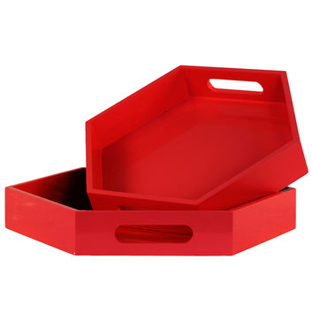 Red Coated Finish Wood Hexagonal Serving Tray with Cutout Handles (Set of 2)   Overstock.com Shopping - The Best Deals on Accent Pieces