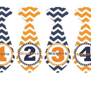 Monthly Onesuit Stickers Baby Month Stickers Boy Blue Orange Chevron Tie Stickers Monthly Onesuit Sticker Baby Shower Gift Photo Prop Charles
