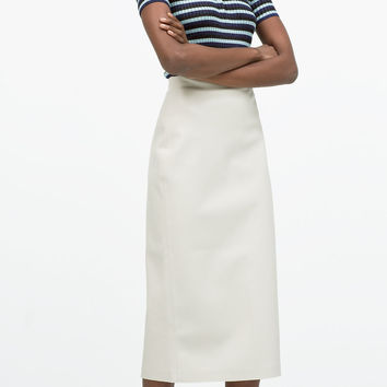 FAUX LEATHER MIDI PENCIL SKIRT