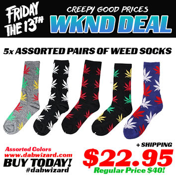 WKND DAY DEAL 03/13/15: 5x Assorted Color Weed Socks Pairs