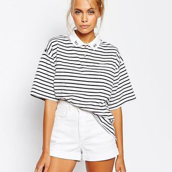 Lazy Oaf | Lazy Oaf Stripe Polo Shirt With Yes No Collar at ASOS