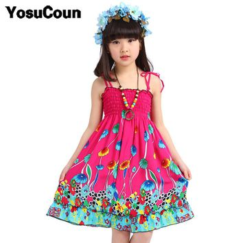 Girls Dress Summer Beach Bohemian Kid Dresses For Girls Shoulderless Clothes Children Clothing Sundress Child Costume Floral