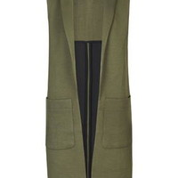 Shawl Collar Sleeveless Jacket - Dark Khaki