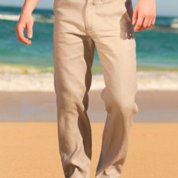 Linen Madrid Pant - Men's Linen Pants, Drawstring, Beach Wedding - Island Importer