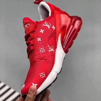 AUGUU Nike Air Max 270 Flyknit 2018 LV Supreme Causal Running Shoes Red