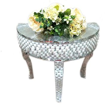Event Polystone Mosaic Mirrored Centerpieces Table 65*34*60