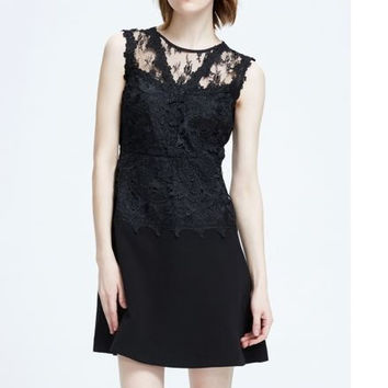 Black  Sleeveless Floral Lace Party Mini Dress