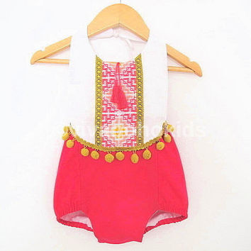 Fuchsia/Mustard Baby Girl Romper/ Linen Boho Chic Sunsuit/ Baby Clothes/ Pom Pom/ First Birthday Outfit / Size NB-6years