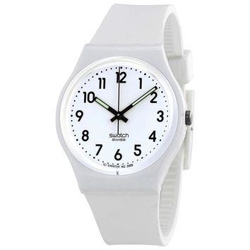 Swatch Just White Soft Ladies Rubber Watch GW151O