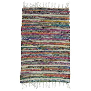 Rainbow Multi Chindi Rag Rug By  Benzara