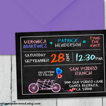 DIY Wedding Invitation Template, Digital Download, Editable Printable, Instant Download, Chalkboard Tandem Bicycle for Two, #1CM82-1