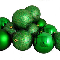 "12ct Shatterproof Christmas Green 4-Finish Christmas Ball Ornaments 4"" (100mm)"