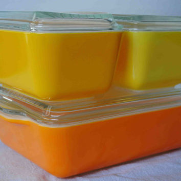 Pyrex Glass Orange Yellow Daisy or Citrus Refrigerator Dish 4pc Set Complete