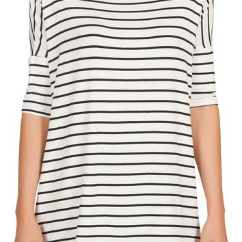 Womens Striped Loose Fit Short Sleeve Tunic Top