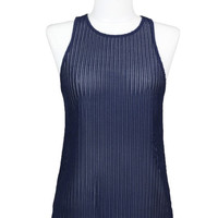 Big Sur Knit Racer Back Top - Navy