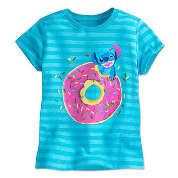 Authentic Disney Store Stitch Striped Organic T-Shirt Girl Size:4 Runs Small