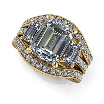 Diamond Bridal Set -Three Stone Engagement - Emerald Cut Celestial Premier Moissanite Ring