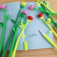 12 Pieces/Lot Rose Flower Shape Colorful Gel Pens Writing Supplies Pens School Stationery Office Supplies Party Supplies Gift