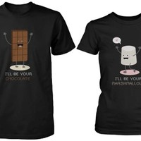 Funny Chocolate and Marshmallow Matching Couple Shirts