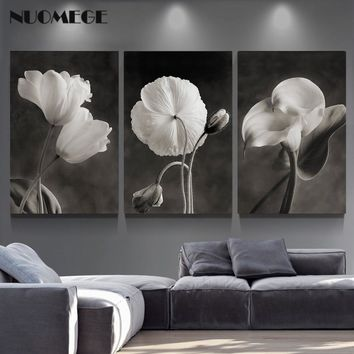 NUOMEGE Beautiful Flowers Posters and Prints Black and White Wall Art Canvas Painting Picture Nordic Poster Home Decor