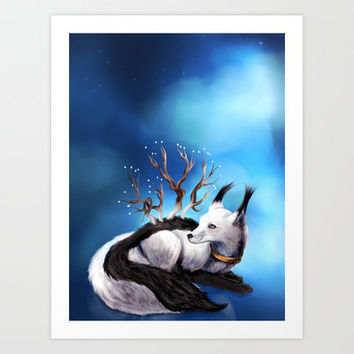 Arctic Fox Art Print by Lily Art