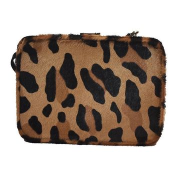 Prada Women's Cavallino St. Le Leopard Beige Calf Hair Clutch Bag 1BF010