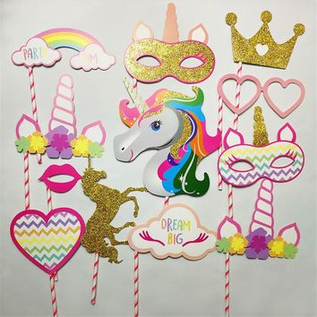New arrived 12 pcs/pack Gold Unicorn Crown Paper Colorful Photo props birthday party decorations kids diy unicorn party supplies