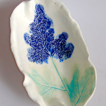 Ceramic Serving dish, with cobalt blue flower design