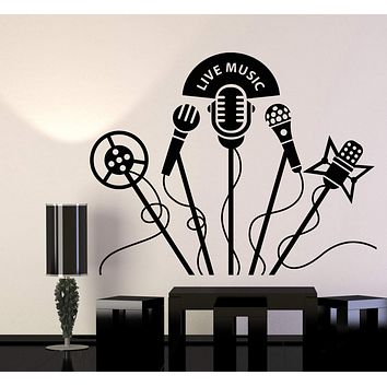 Vinyl Wall Decal Retro Microphones Karaoke Club Live Music Stickers Unique Gift (1249ig)