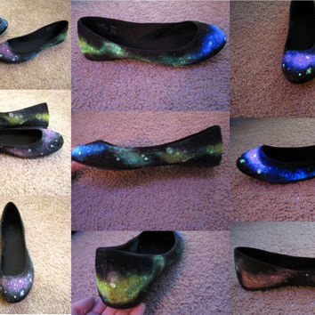 Space Junk Galaxy Shoes // Faux Suede Flats// by NeonWonderland